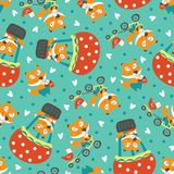 Foxes and hens pattern. Vector seamless pattern with foxes and hens Stock Photography