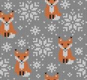 Foxes il modello senza cuciture tricottato jacquard Fotografia Stock Libera da Diritti