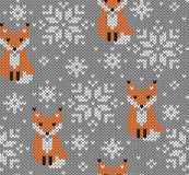Foxes jacquard knitted seamless pattern Royalty Free Stock Photography
