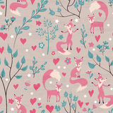 Foxes in love forest. Seamless pattern with hand drawn design for Valentines Day and Birthday greeting cards, fabric, wrapping paper, invitation, stationery Royalty Free Stock Photography