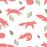 Foxes. Seamless vector background. Stylization in the style of the cartoon. Pattern for the design of children`s things and textiles, wallpaper Royalty Free Stock Photos