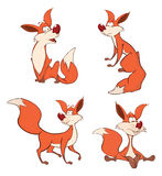 Foxes set cartoon. Set of red foxes with a fluffy tail Royalty Free Stock Photography