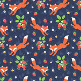 Foxes and wild strawberries seamless pattern. Cute foxes and wild strawberries forest seamless pattern Stock Photo