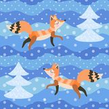 Foxes in the winter forest among snow-covered fir trees. Seamless pattern in vector. Printing for fabric, wallpaper for children.  stock illustration