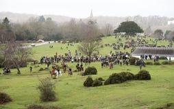Foxhunting in der englischen Landschaft Lizenzfreie Stockfotos