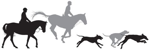 Foxhunting, hunters on horses and foxhound dogs. Foxhunting, hunters on horses and running foxhound dogs silhouettes, Fox hunting, Hunting with hounds stock illustration