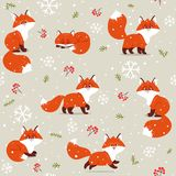 Foxs cartoon witer royalty free stock images