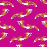Foxs senza cuciture del modello che saltano sul fondo rosa di colore Illustrazione di Stock