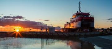Foxton海滩码头小船 免版税库存图片