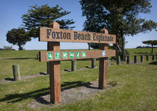 Foxton Beach Esplanade sign Royalty Free Stock Photography