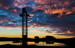 Sunset Foxton Water Park. Foxton New Zealand new water park, showing it`s new cable towers. With a wonderful sunset sky royalty free stock photography