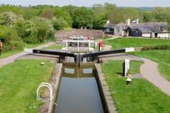 Foxton-Verschlüsse auf dem großartigen Verbands-Kanal, Leicestershire, Großbritannien stockbild