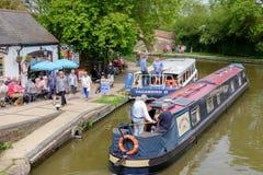 Foxton-Verschlüsse auf dem großartigen Verbands-Kanal, Leicestershire, Großbritannien lizenzfreie stockfotos