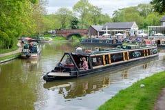 Foxton-Verschlüsse auf dem großartigen Verbands-Kanal, Leicestershire, Großbritannien lizenzfreie stockbilder