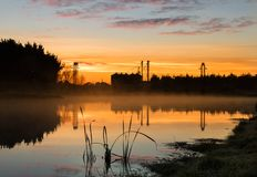 Foxton Water Park Morning. Foxton water park New Zealand on a mist morning sunrise Stock Photography