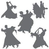 Foxtrot Tanz Ballsaaltanz Paartanz-Schattenbildvektor vektor abbildung