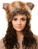 Foxy Brunette Woman In A Fox Hat Stock Images