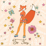 So foxy elegant concept card with attractive fox Royalty Free Stock Photos