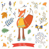 So foxy elegant concept card with fox character Stock Images