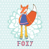So foxy elegant concept card with fox character Royalty Free Stock Photos