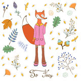 So foxy elegant concept card with fox character Stock Image