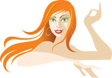 Foxy girl. Red hair girl with earrings Royalty Free Stock Image