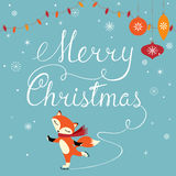 Foxy greeting. Christmas greeting card with cute fox Royalty Free Stock Images
