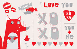 Foxy Love Words. Cute cartoon fox surrounded by various red love and romance words, symbols and elements Stock Photography