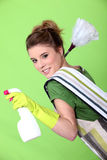 Foxy young cleaner. Likes her job stock image