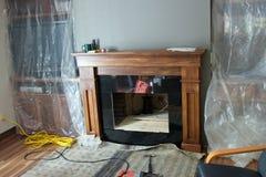 Foyer au gaz à la maison de rénovation Photographie stock libre de droits