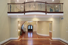 Foyer with balcony. Foyer view with balcony in new construction home Stock Photo