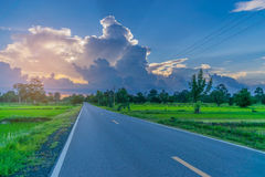 Foyer brouillé et mou de doux abstrait la silhouette le lever de soleil avec la route, le gisement de riz non-décortiqué, le beau photo libre de droits