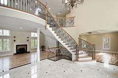 Foyer and circular staircase stock photo