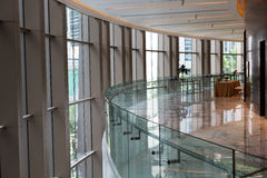 Foyer of the conference room. With glass panoramic windows stock photos