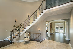 Foyer with curved staircase Stock Image