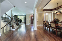 Foyer with dining room view Royalty Free Stock Photography