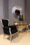 Foyer furniture. Small foyer interior with silver and black furniture Stock Photo