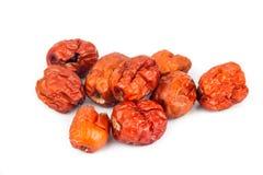 Foyer haut et sélectif de fin les dates rouges chinoises sèches au premier plan Images stock
