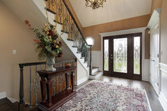 Foyer with leaded glass doors Stock Image