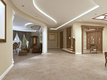 Foyer in a luxury house in a classic style with a staircase. 3D rendering royalty free illustration