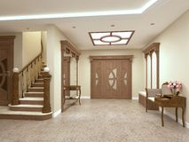 Foyer in a luxury house in a classic style with a staircase. 3D rendering stock illustration