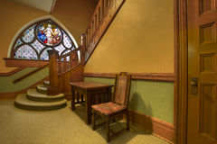 Foyer in Old Historic Church. Foyer Stained Art Glass in Old Historic Church Royalty Free Stock Photos