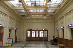 Foyer Railway Station. The entrance hall to the main station in Přerov Royalty Free Stock Image