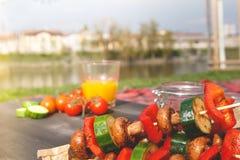 Foyer sélectif grillé de légumes délicieux Partie de barbecue extérieure Photographie stock