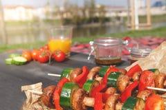 Foyer sélectif grillé de légumes délicieux Partie de barbecue extérieure Photos stock