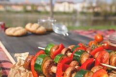 Foyer sélectif grillé de légumes délicieux Partie de barbecue extérieure Photo libre de droits
