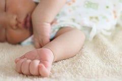 Foyer sélectif sur des mains de bébé asiatique minuscule nouveau-né mignon photo stock