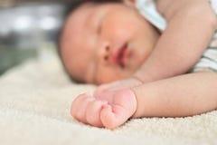 Foyer sélectif sur des mains de bébé asiatique minuscule nouveau-né mignon photos libres de droits
