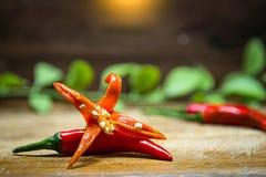 Foyer sélectif sur les poivrons de piment d'un rouge ardent frais avec le fond en bois et vert de feuilles Photographie stock libre de droits