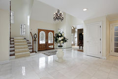 Foyer with stained glass door windows Royalty Free Stock Image